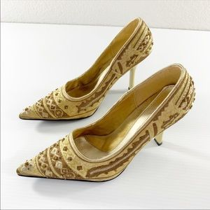 Splash beaded gold shoes with vintage look NWOT